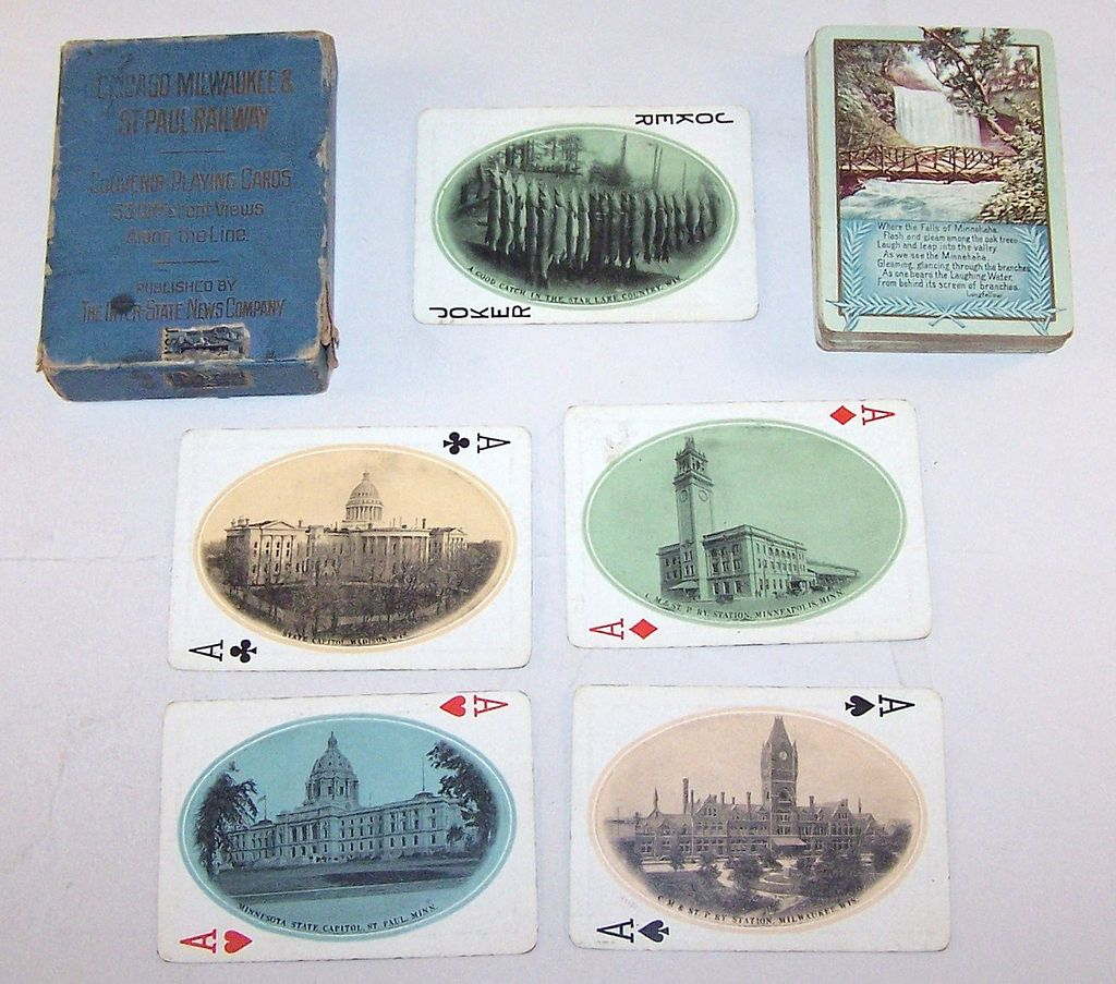 "Chicago, Milwaukee & St. Paul Railway ""Minehaha Falls"" Railroad Souvenir Playing Cards, Inter State News Company, c.1910"