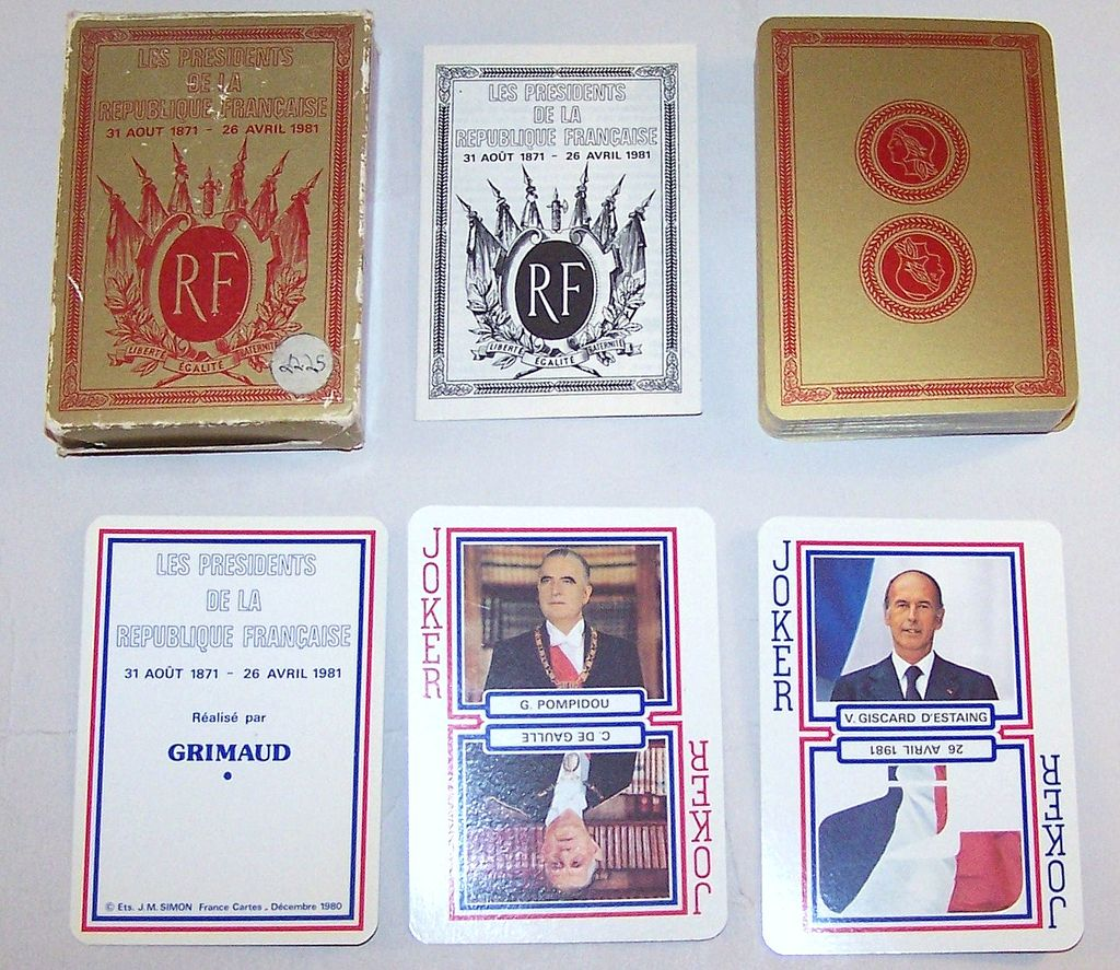"Grimaud ""Les Presidents de la Republique Francaise"" (""Presidents of France"") Playing Cards, c.1980"
