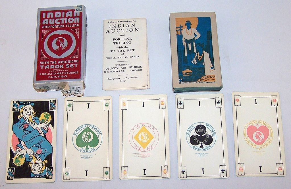 "August Petryl & Son ""Green Spade Tarok Set,"" Published by Publicity Art Studios as ""Indian Auction and Fortune Telling"" – ""With the American Tarok Set,"" c.1934"
