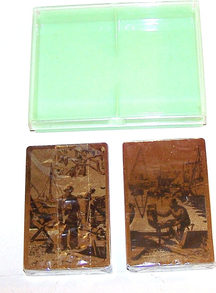 "Double Deck Brown & Bigelow (Redi-Slip) ""Lionel Barrymore Gold Foil Etchings"" Playing Cards, ""Point Mugu"" and ""Purdy's Basin,"" c.1970s"