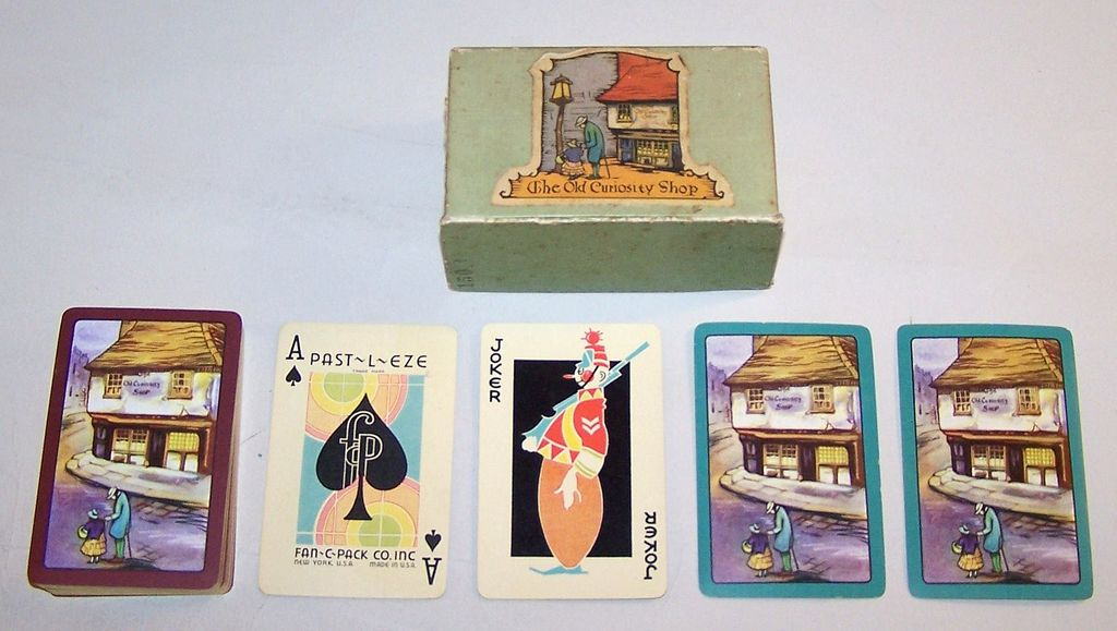 "E.E. Fairchild ""Past-L-Eze"" Playing Cards, Dickens ""The Old Curiosity Shop,"" Fan C Pack Co. Publisher (?),  c.1935"