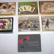 "7 Double Decks Piatnik Playing Cards $10/ each: ""Botticelli,"" ""Tudor Rose,"" ""Mucha,"" ""Picasso,"" ""Vintage Football,"" ""Vintage Fishing"" ""Supreme -- Musical Score"""