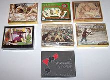 "7 Double Decks Piatnik Playing Cards $10/ each: ""Botticelli,"" ""Tudor Rose,"" ""Mucha,"" ""Picasso,"" ""Vintage Football,"" ""Vintage Fishing"" ""Supreme -- Musical Score"""