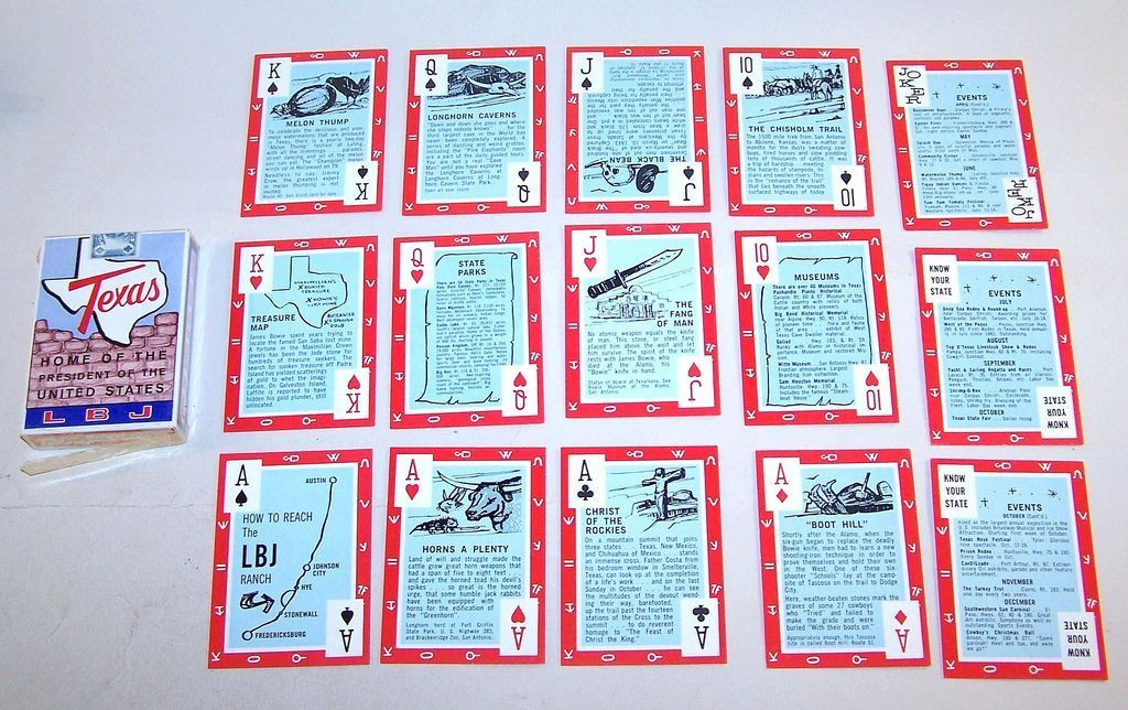 "2 Decks ""Texas Historical"" Playing Cards, $15/ea: (i) USPCC ""Lyndon B. Johnson Texas,"" E&S Co. Publisher, 1966 (ii) Alief Products ""Texas"" (formerly 1986 Texas Sesquicentennial Deck – updated edition)"