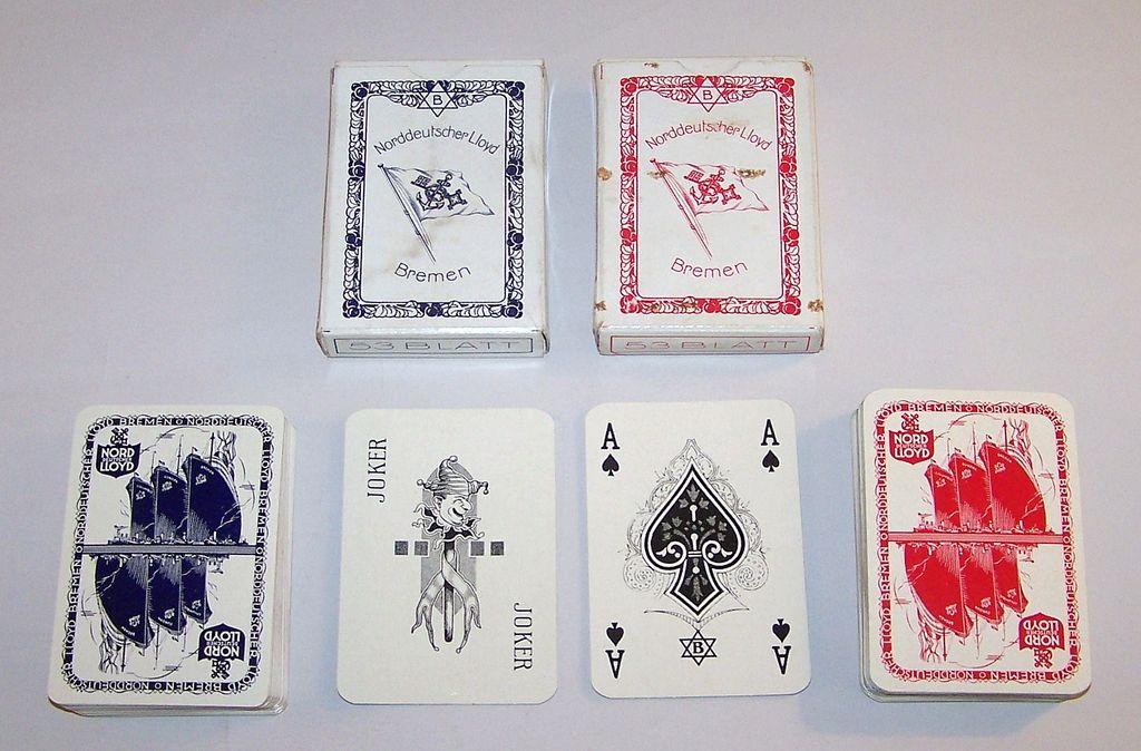 """2 Decks VASS """"Norddeutscher Lloyd Bremen"""" Playing Cards, Bechstein Logo Ace of Spades, c.1930"""