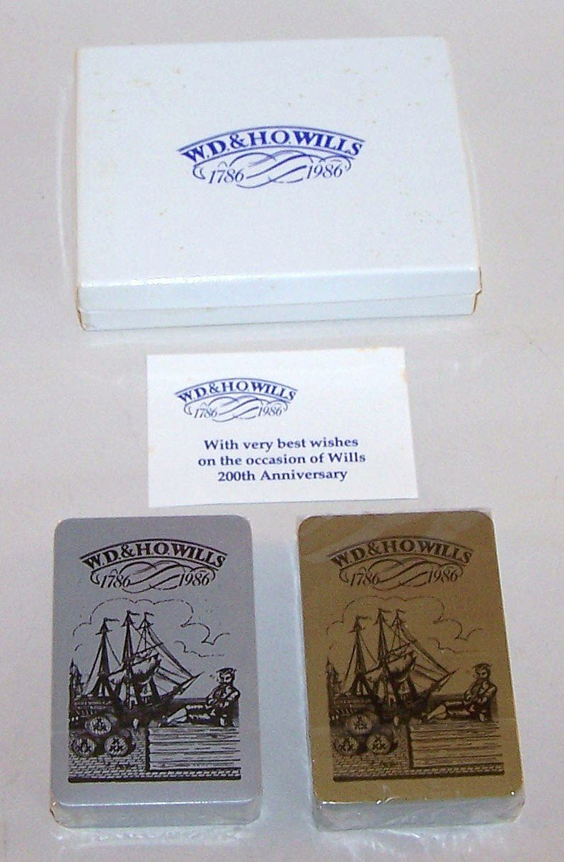 "Double Deck ""W.D. & H.O. Wills"" Playing Cards, Company Bicentennial Celebration, Maker Unknown, c.1986"
