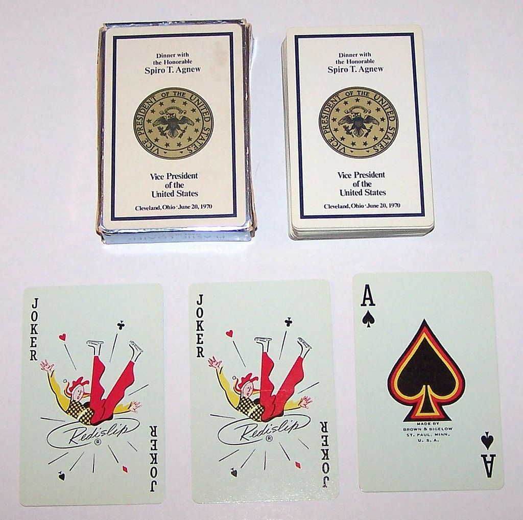 "Brown & Bigelow ""Dinner with the Honorable Spiro T. Agnew"" Playing Cards, c.1970"