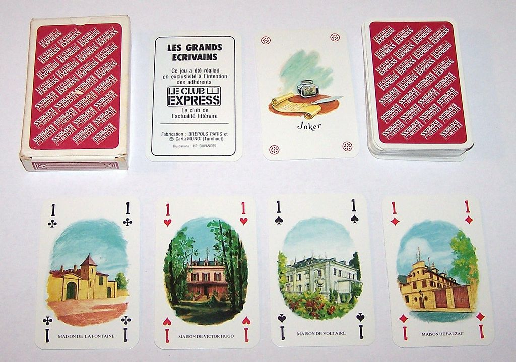 "Carta Mundi (Brepols) ""Les Grand Ecrivains"" (""The Great Writers"") Playing Cards, Le Club Express, J.P. Djivanides Designs, c.1970"