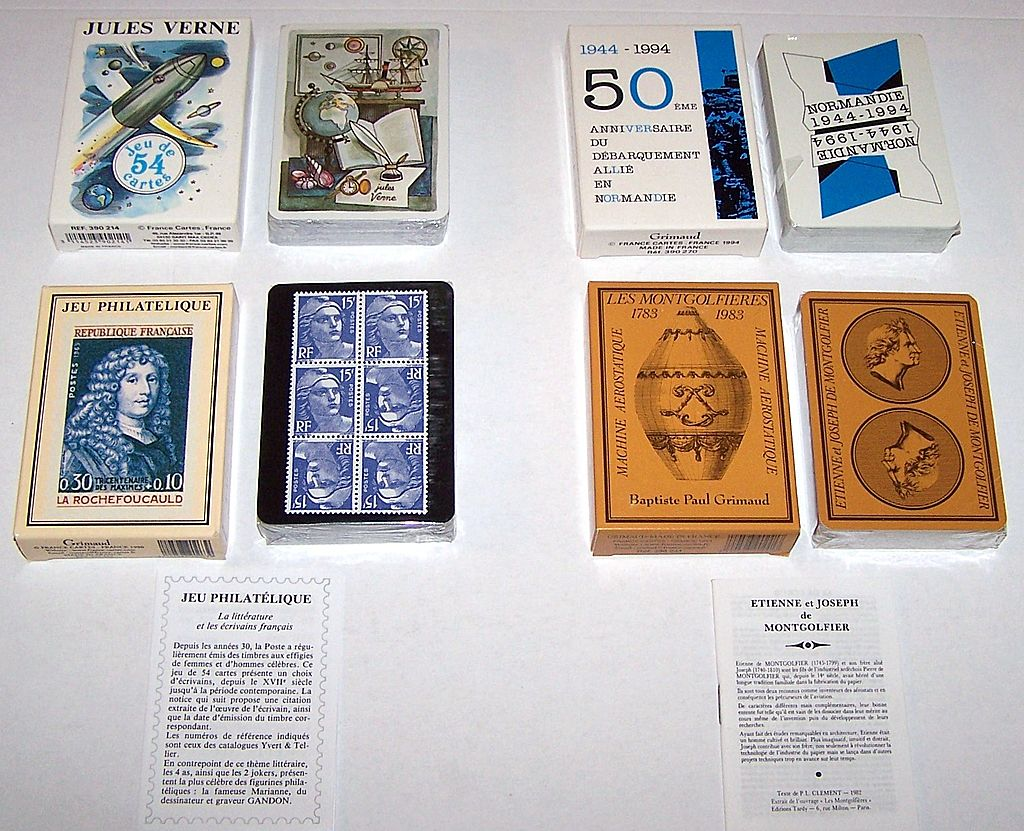 "3 Decks Grimaud Playing Cards, $15/ea.: (i) ""Normandie 1944-1994,"" Yannick Pennanguer Designs, c.1993; (ii) ""Jeu Philatelique,"" Jacques Hiver Designs, c.1990; (iii) ""Les Montgolfieres,"" c.1983"