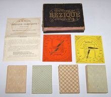 "A.B. Swift ""The Game of Bézique Complete"" w/ 4 Decks ""A. Dougherty's Best Double Head, Plate Ace Euchre"" Cards and 2 A.B. Swift Scorers, c.1865"