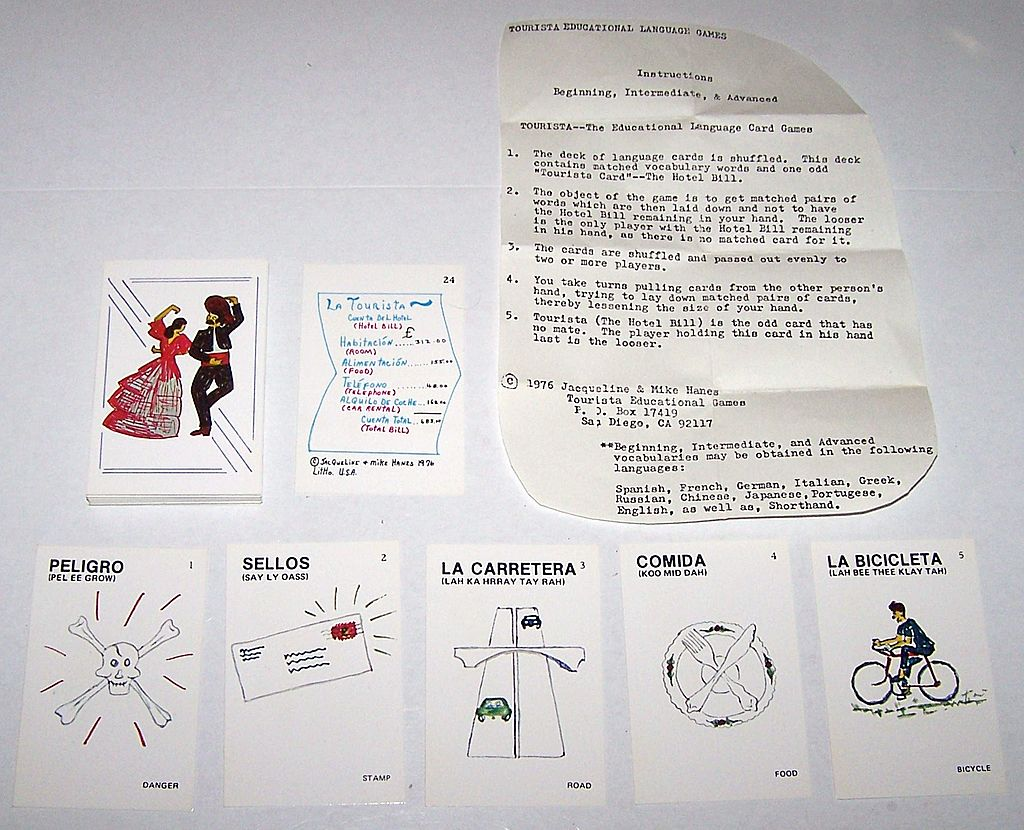 "Tourista Educational Games ""Beginning (?) Spanish"" Card Game, ""Old Maid"" Type, Jacqueline & Mike Hanes Designs, c.1976"