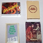 "4 Decks Advertising Playing Cards, $15/ea: (i) Firefood Specialties ""Hot Sauce Playing Cards -- Let's Barbecue""; (ii) Brown & Bigelow ""Miles Laboratories""; (iii) RC Printing Company ""Best Products""; (iv) ""Walkers"""