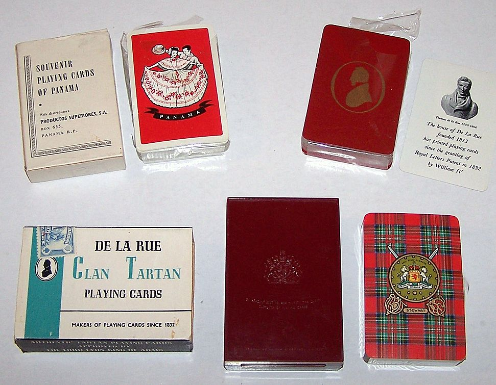 "3 Decks De La Rue Playing Cards, $10 ea.: (i) Souvenir Playing Cards of Panama, c.1957-1960; (ii) Thomas De La Rue Silhouette, 1965-1969; (iii) Clan Tartan (""Stewart""), 1957-1965"