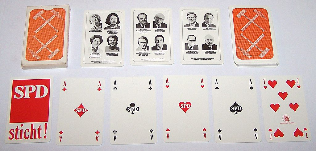 "Karavelle (Belgium) ""SPD"" (""Sozialdemokratische Partei Deutschlands"" -- Social Democratic Party of Germany) Skat Playing Cards, c.1976"