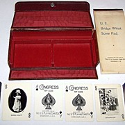 "USPC Congress 606 ""Bridge Whist"" Set, w/ ""Good Night"" and ""Anticipation"" Decks, c.1905"
