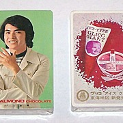 "2 Decks Nintendo ""Glico"" Playing Cards (""Glico Almond Chocolates"" and ""Glico Giant Ice""), $25/ea, ""Young Men"" Designs, Izumi Tamai Artist, c.1967"