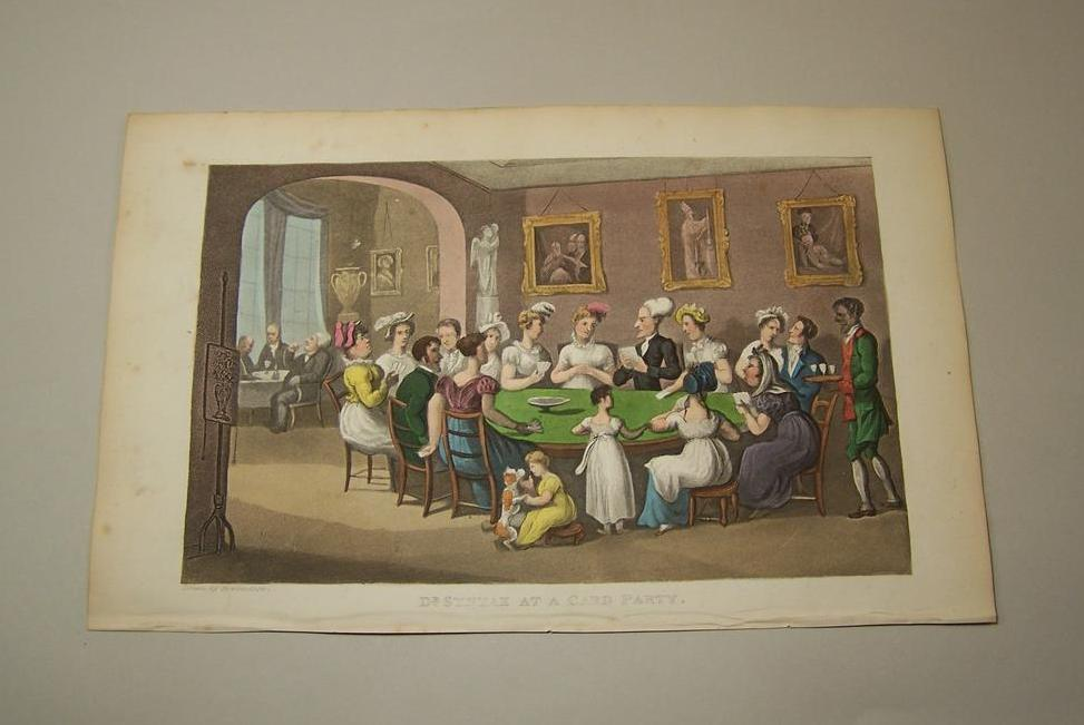 "Thomas Rowlandson Hand Coloured Aquatint, ""Dr. Syntax at a Card Party,"" c.1825"
