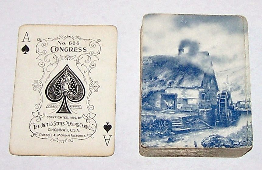 "USPC Congress 606 ""Mill Water Wheel"" Playing Cards (52/52, NJ, No Box), Russell & Morgan, c.1899"