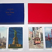 2 Double Decks Souvenir Cards, $15/ea.: (i) Arrco New York Souvenir, c.1950s; (ii) USPC (Russell Joker) San Francisco Souvenir, c.1950s