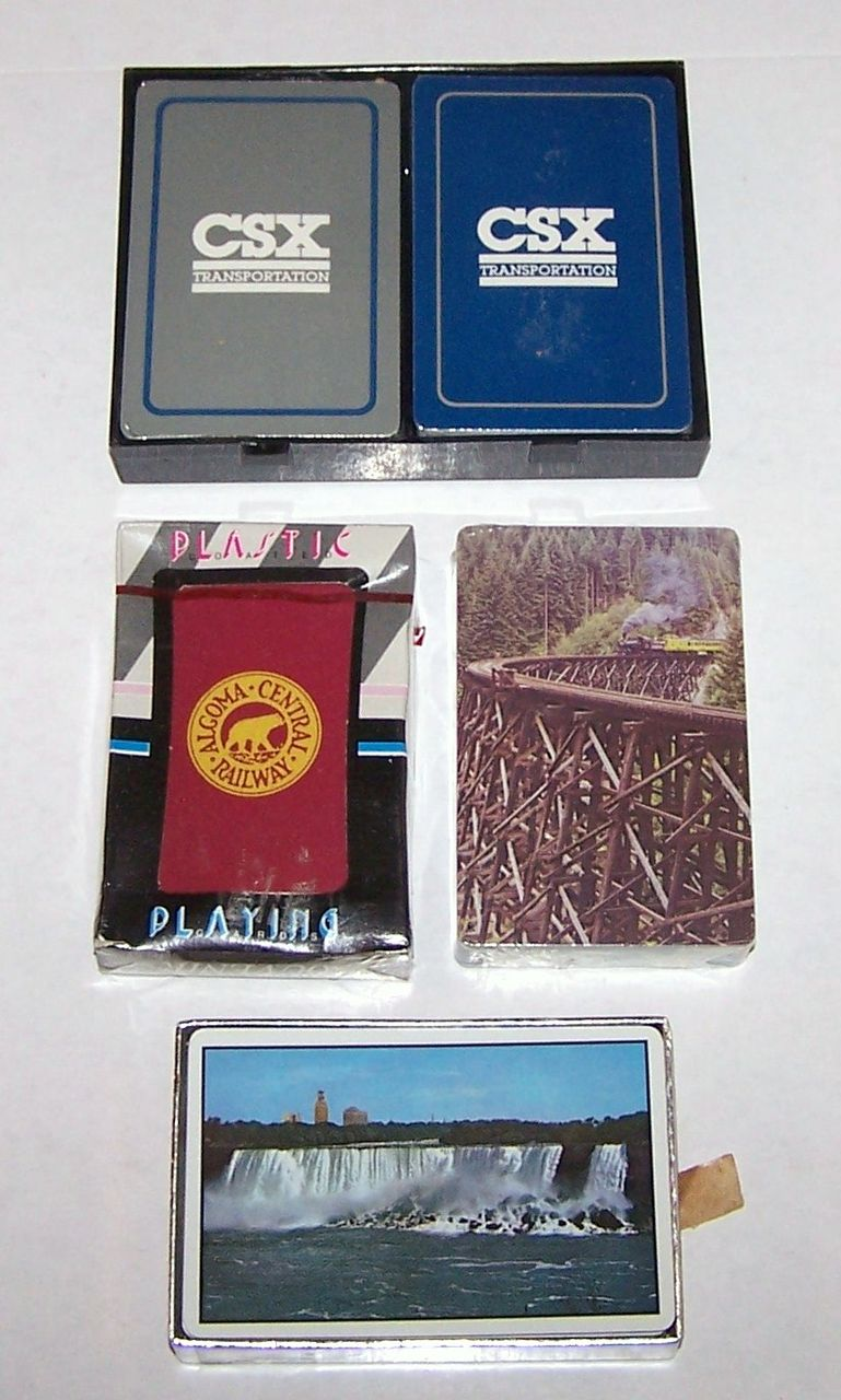 "4 Sets Railroad Playing Cards, Various Prices $5-$10/ea.: (i) Double Deck Whitman ""CSX,"" c.1994, $10; (ii) USPC ""New York Central,"" c.1958, $10; (iii) Maker Unknown ""Algoma Central"" c.1990, $5; (iv) Hoyle ""Denver & Rio Grande Western"" c.1988, $5"