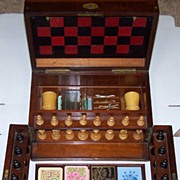 Victorian Walnut Games Compendium w/ Leather Game Boards, Steeplechase Game, Staunton-Type Chess Set, Checkers, Dominoes, Bezique Cards (2) and Markers, Whist Cards (3) and Markers, Dice and Dice Cups, c.1870-1890