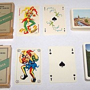 "2 Decks Handa ""Danish Souvenir Series"" Playing Cards, $25/ea.: (i) ""Thorvaldsen Museum"" – ""Luxus-Salon No. 99"" Courts and Joker (Fournier, Denmark 50), c.1959; (ii) ""English Church"" – ""No. 413"" Courts and Joker (Fournier, Denmark 62)."