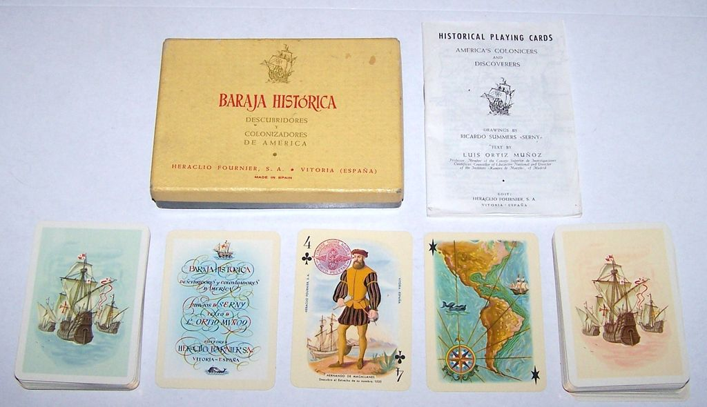"Double Deck Fournier ""Historical"" (Discovery / Colonization America) Playing Cards, Summers Designs, c.1957"