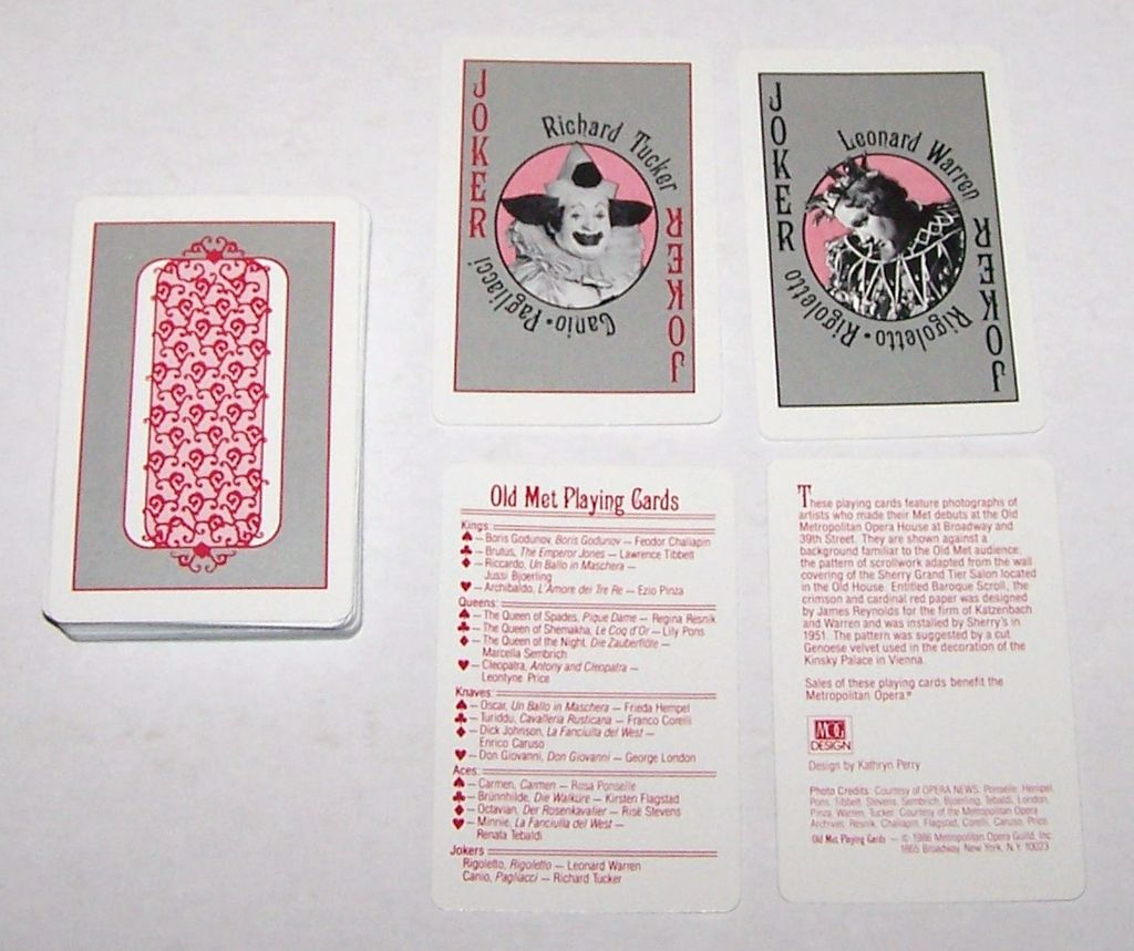 "Metropolitan Opera Guild ""Old Met Playing Cards,"" Maker Unknown, Kathryn Perry Designs, c.1986"
