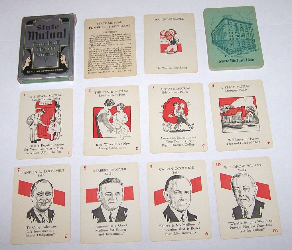 "Russell Mfg. Co. ""State Mutual Fun-Full Thrift"" Card Game, State Mutual Life Ins. Co., Illustrations of U.S. Presidents, c.1937"