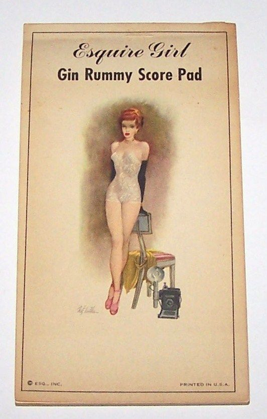 "Esq., Inc. ""Esquire Girl Gin Rummy Score Pad,"" Fritz Willis Pin-Up Illustration (January 1948, Esquire Magazine Foldout), c.1948"