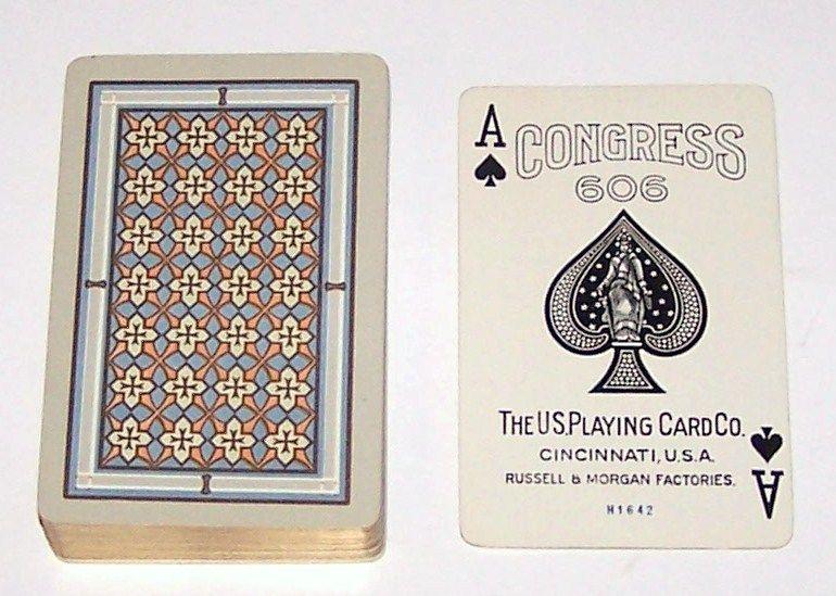 "USPC ""Congress 606 Bridge"" Playing Cards (52/52, NJ), Artistic Geometric Pattern, c.1926"