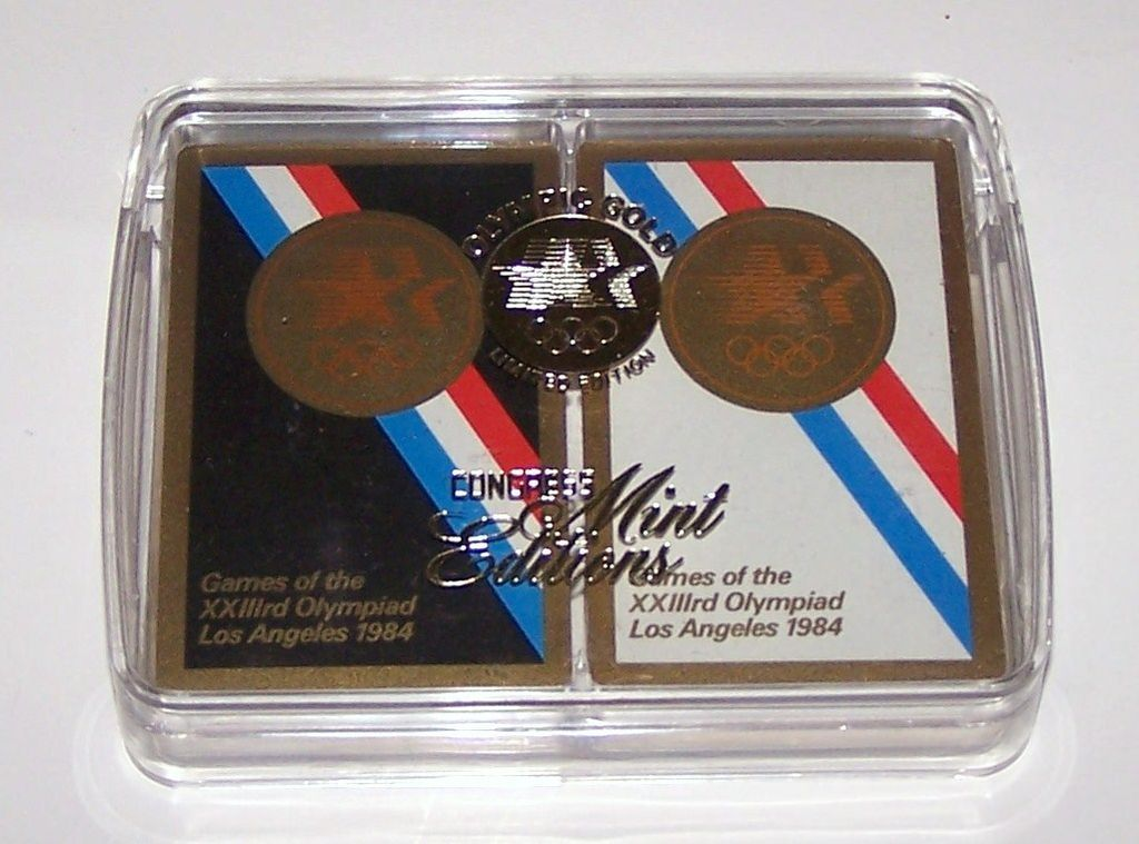 "Double Deck USPC ""XXIII Olympic Summer Games Los Angeles 1984"", w/ Presentation Box, c.1984"
