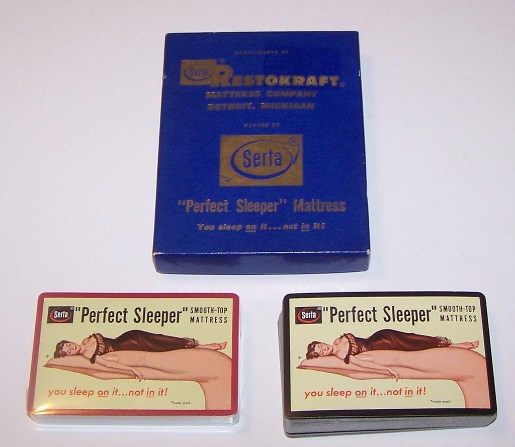 "Double Deck USPC ""Serta"" Pin-Up Playing Cards, ""Perfect Sleeper"" Mattress Advertising, c.1948"