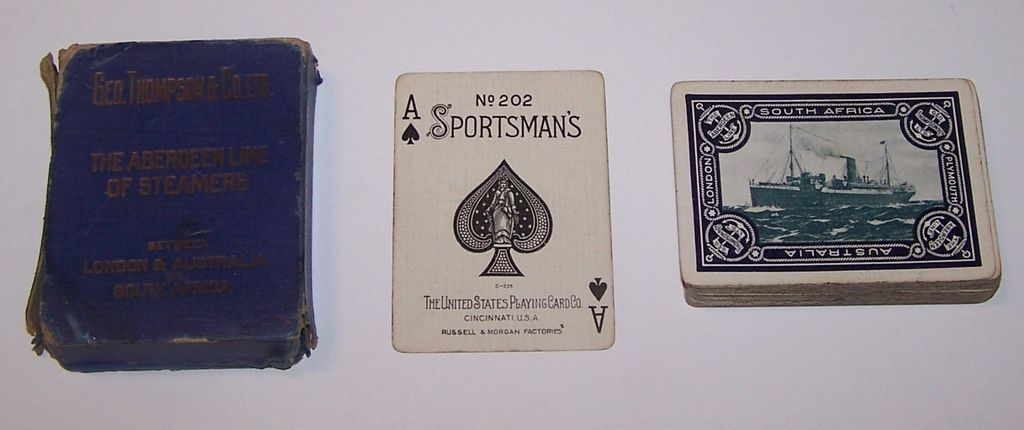 "USPC ""Aberdeen Steamers"" Maritime Playing Cards (52/52, NJ), Sportsman's 202 Brand, Geo. Thompson & Co., Ltd., c. 1900"