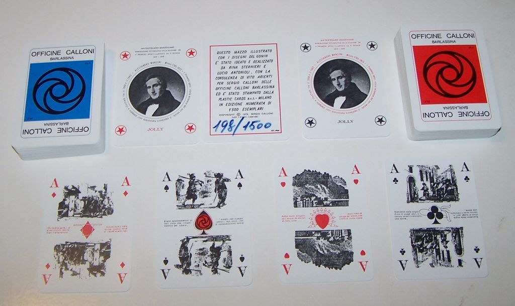 "Double Deck Solleone (Plastic Cards) ""Officine Calloni"" Playing Cards, Sergio Calloni Publisher, Manzoni Commem., Ltd. Ed. (198/1500), Sterneri and Antonioli Designs (1840 Gonin Illus. -- ""The Betrothed""), c.1973"