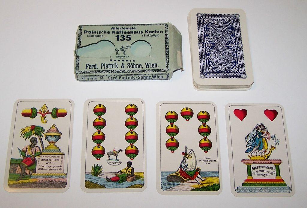 """Piatnik """"Polnische Kaffeehaus Karten 135"""" Playing Cards, c.1918"""
