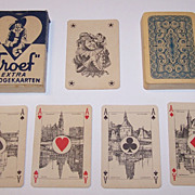 "Speelkaarten Fabriek Nederland ""Troeuf – Whist No.11"" Playing Cards, Scenic Aces, c.1940"