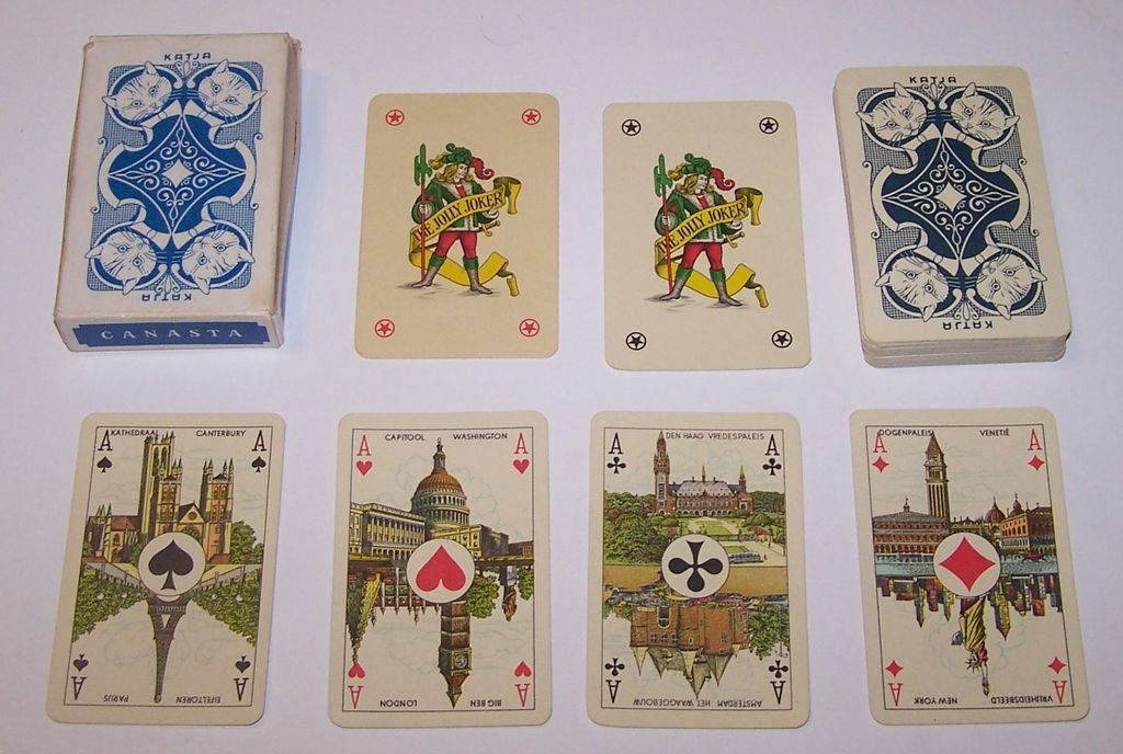 "Piatnik (Hungary) ""Katja"" Playing Cards, Belgian Pattern w/ Scenic Aces, c.1960"