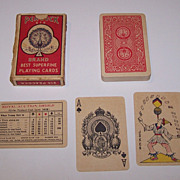 "India ""815 Peacock"" Playing Cards, ""Goodall"" Ace, Maker Unknown, Exceptional Joker, c.1930"