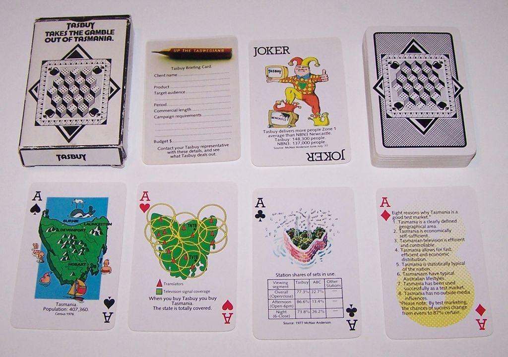 """O. King P/L """"Tasbuy"""" Tasmania Advertising Playing Cards, c.1978"""
