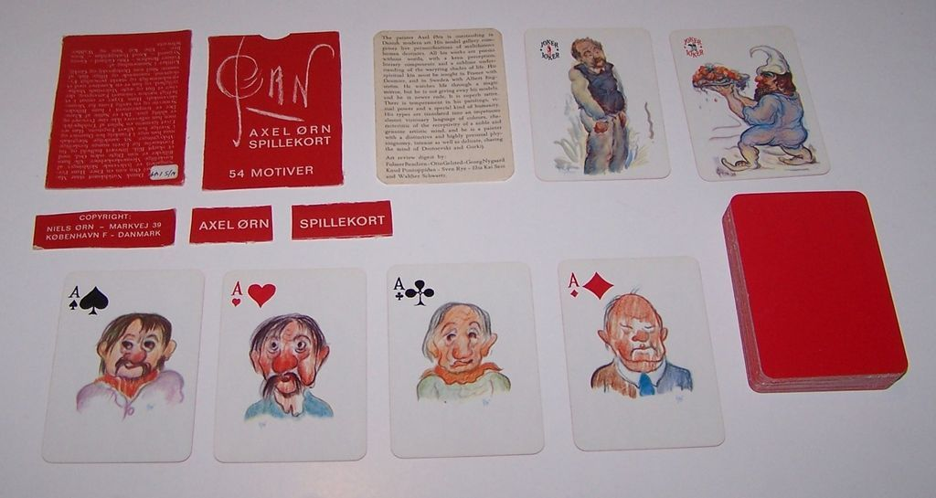 "Handa ""Pan"" Playing Cards (51/52 + 2J + EC), Axel Orn Designs, c.1965"