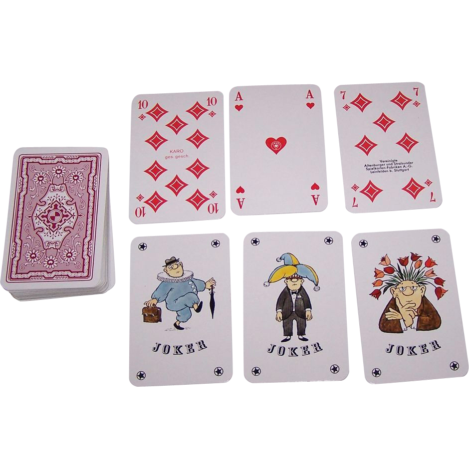 "ASS ""Loriot"" Playing Cards, Vicco von Bülow (aka ""Loriot"") Designs, c.1973"