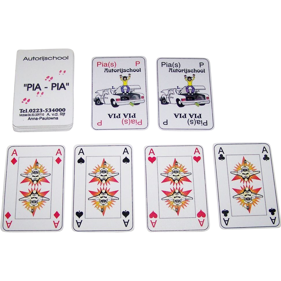 "Pia Pia ""Autorijschool"" Playing Cards, Ltd. Ed. (?/60), Jose Verwer and Netty Schipper Designs, Thick Plastic or Linoleum (?), c. 1990s"