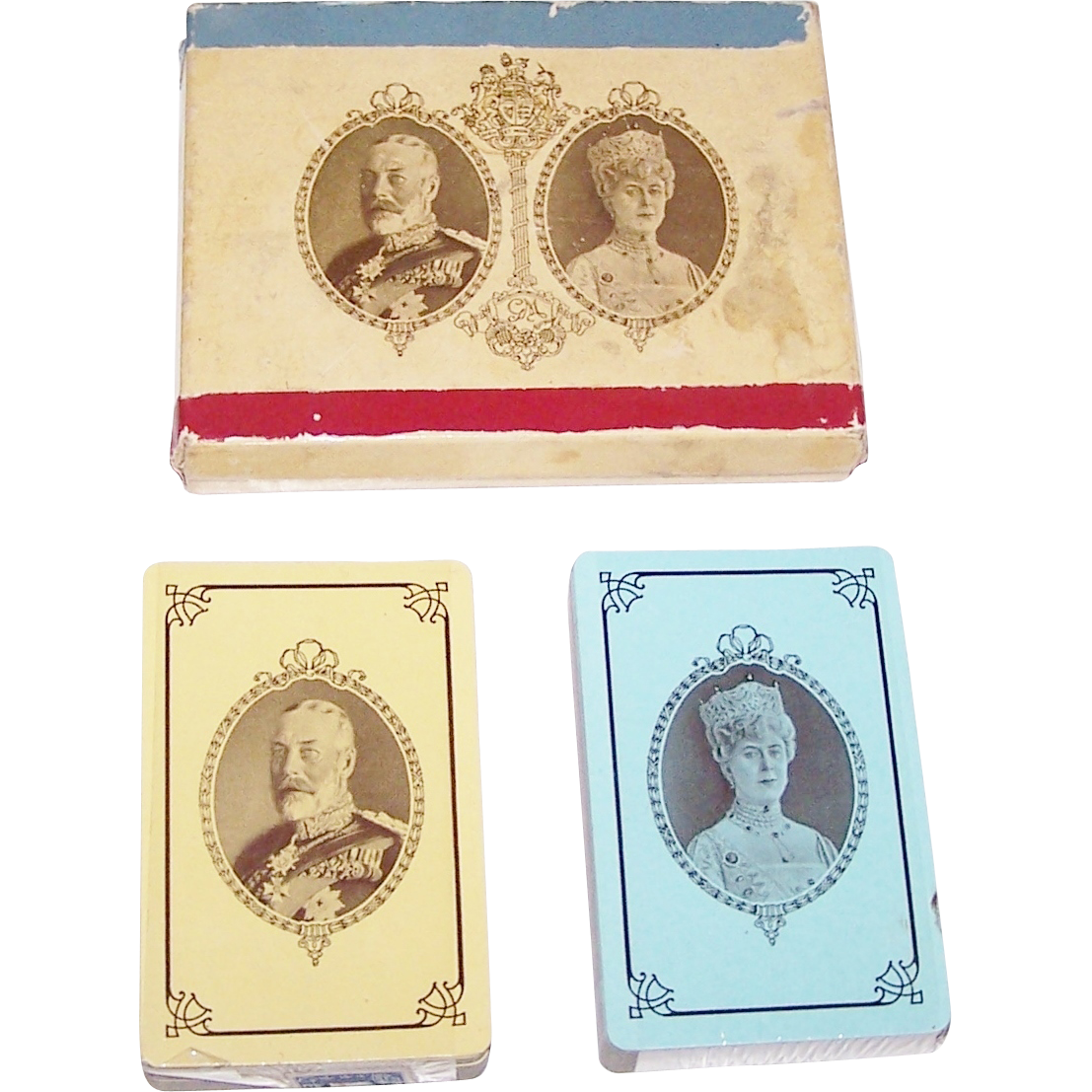 "Double Deck Canadian Playing Card Co. ""Silver Jubilee King George V"" Playing Cards, Commemorating 25th Anniversary of Ascendancy of King George V and Queen Mary, c.1935"