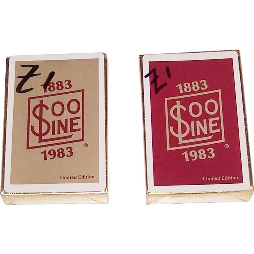 "Twin Decks Brown & Bigelow""Soo Line Centennial"" Railroad Playing Cards, c.1983, $15/ea."