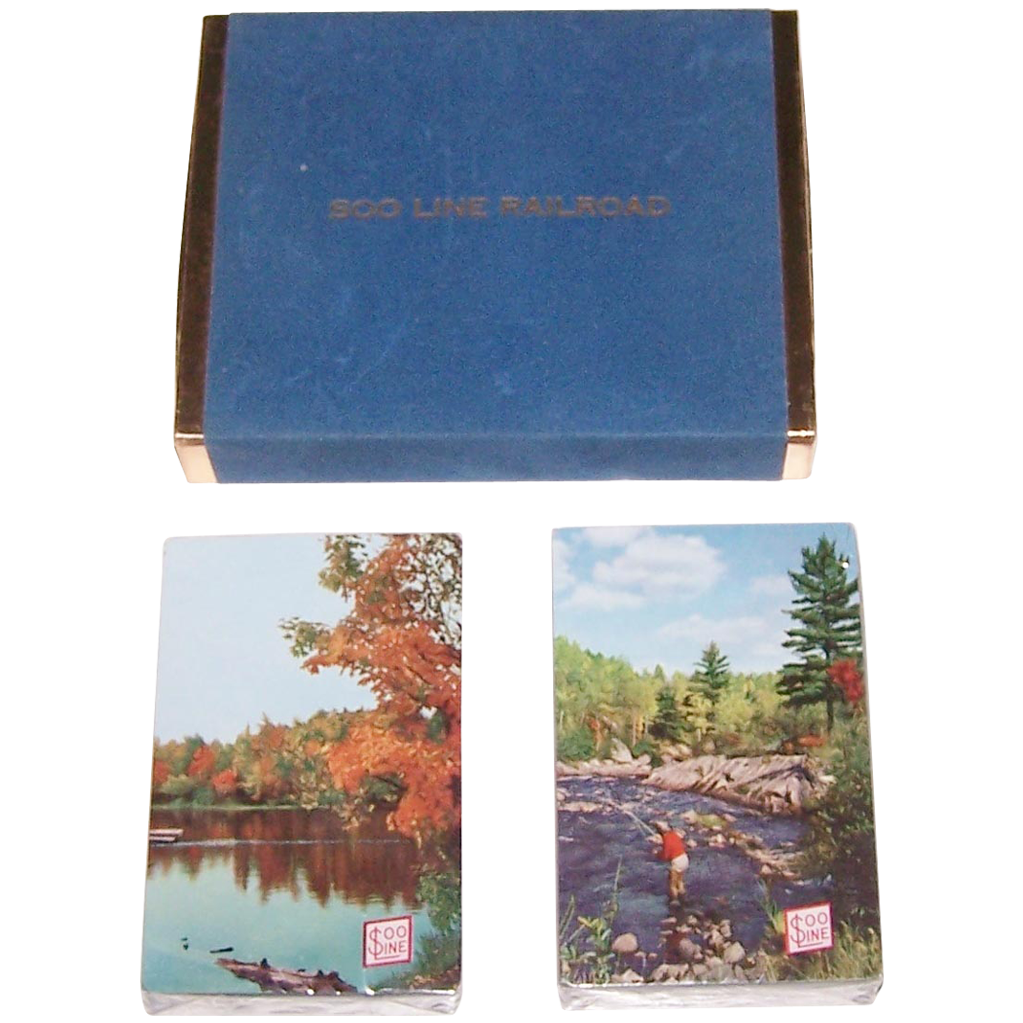 """Double Deck """"Soo Line"""" Railroad Playing Cards, Maker Unknown c.1955"""