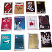 12 Decks USPC Cigarette Advertising Decks, $5/ea.: Newport (2); Lucky Strike (2); Kent (2); Camel; True; York; Pall Mall; Benson & Hedges; Kool