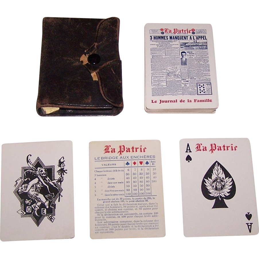 "Consolidated Litho ""La Patrie"" Advertising Playing Cards, ""La Patrie"" Newspaper c.1926"