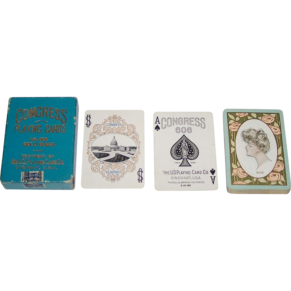 "USPC Congress 606 ""Rose"" Playing Cards, Art Nouveau Backs, c.1905"