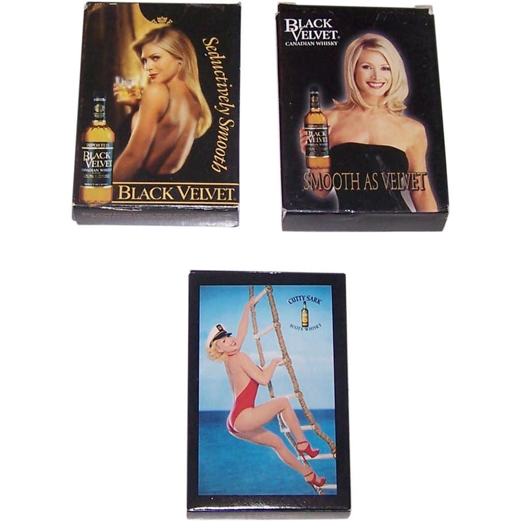3 Decks Whisky Pin-Up Cards, 2 Black Velvet, 1 Cutty Sark, Different Makers, $10/ea.